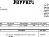 Ferrari invoice Webber for taxi ride