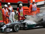 Mercedes 'gutted' with fire on Hamilton's car