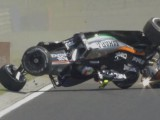 Perez escapes injury as his Force India flips over