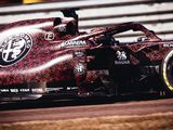 Kimi Raikkonen drives 2019 Alfa Romeo F1 car in Valentine's Day livery