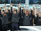 Hamilton receives guard of honour at Mercedes homecoming