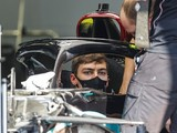 Russell wearing size smaller F1 race boots to fit into Mercedes car