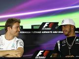 Rosberg and Hamilton joke together at Mercedes event