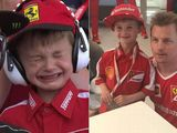 Boy cries at Kimi Raikkonen's retirement in Spain, gets taken to meet him at Ferrari