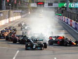 Perez wins on a day of shocks and surprises in Baku