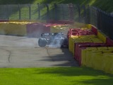 Hamilton crashes into the barriers at Spa