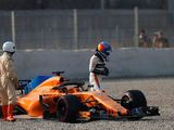 Fernando Alonso crashes out in opening hour of pre-season test