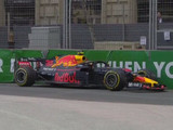 Verstappen in the barriers in Baku
