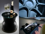 Win! Williams wheel rim table signed by Massa, Stroll